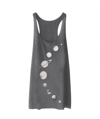 New Women Planets Printing Top shirt Females Sleeveless Vest Girls Fashion Cross back Tops Sexy Summer Top Vest camiseta tir...