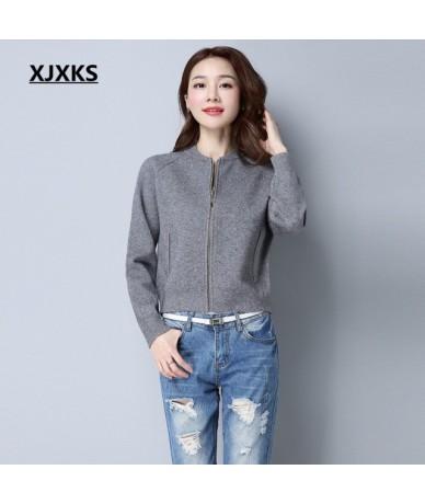 Ladies Clothing Beautiful Streetwear Women Cardigans Sweater Coat Simple Zipper Pockets Casual Short Sweaters Coats - Gray -...
