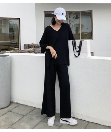Knitting Female Sweater Pantsuit For Women Two Piece Set Knitted Pullover V-neck Long Sleeve Bandage Top Wide Leg Pants Suit...