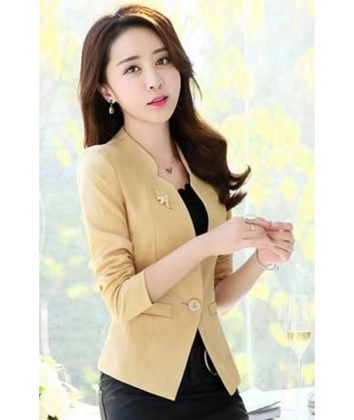Short Blazers Jacket New 2018 Women Hot Design Long Sleeve Slim Elegant Office Lady Slim Fit Black One Button Short Blazers ...