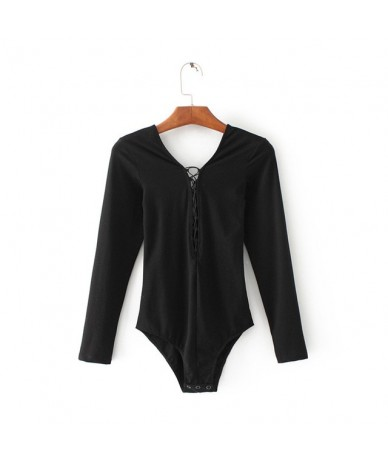 Women Deep V Neck Lace Up Bodysuits with Long Sleeve Sexy Bodysuit - black - 4Q3923694511-2