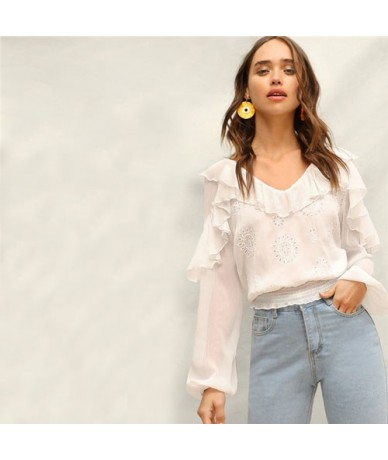 Lady Sweet Smocked Hem Semi Sheer Eyelet Embroidered Ruffle White Top Women Spring Cute Bishop Sleeve V Neck Solid Blouses -...