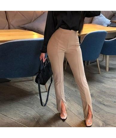 Women Front Slit Pencil Pants Solid Color High Waist Pants Elegant Office Ladies Tight Trousers Workwear - Khaki - 4F4122444...