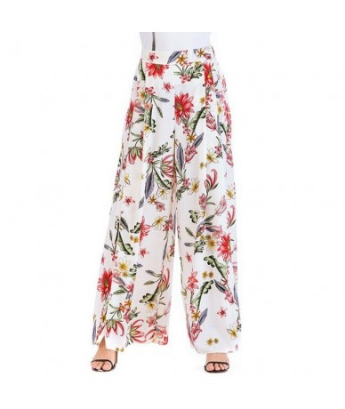 2018 Floral Print Wide Leg Pants Women Summer Elastic Waist Chiffon Long Trousers Casual Boho Beach Pantalones Mujer - 3 - 4...