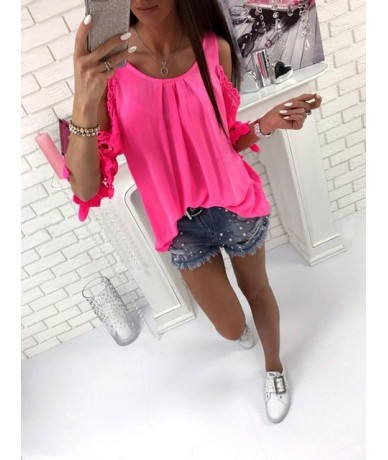 Womens Tops And Blouse Shirt 2018 Summer Top Casual Hollow Out Sleeve Off Shoulder Shirt Ladies Blouse Boho Tunic Tops - ros...