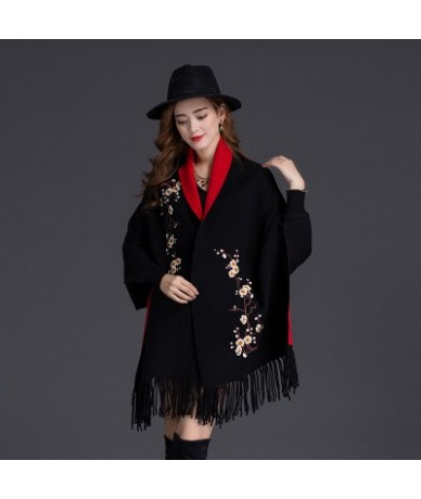 Fashion Tassel Shawl Cloak 2018 New Spring Sweater Women Coat Embroidery Bat Sleeves Casual Loose Knitted Open Stitch Cardig...