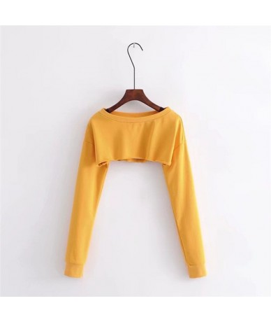 spring women red sexy o-neck Knitted long sleeve Frayed Hem Crop Sweatshirt cropped jumpers pullovers fashion femme - Yellow...
