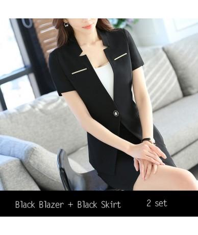 Fashion women skirt suit New Business summer formal fashion V Neck slim blazer and skirt office ladies plus size work wear -...