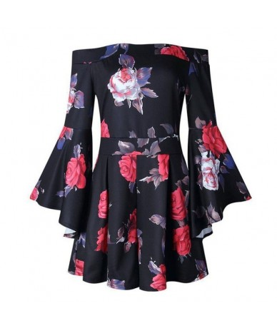 New Brand Fashion Print Slim Women Playsuits Sleeveless Long Pagoda Sleeve Rose Flower Casual Romper Jumpsuit Bodysuit Femme...