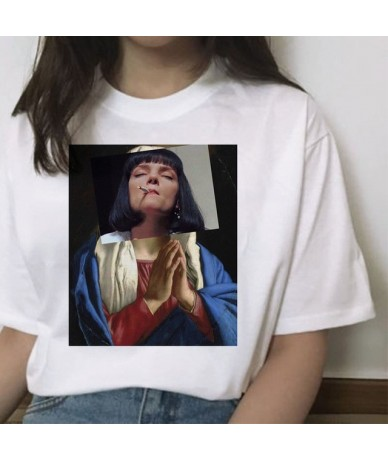 pulp fiction ulzzang mia t shirt women Print 2019 Grunge femme harajuku funny kawaii short sleeve clothes tshirt streetwear ...