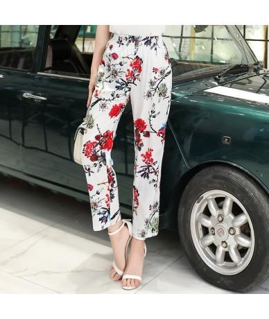 2019 Summer Women Pants Korean Cotton Linen Elastic Waist Plaid Pants Casual Straight High Waist Pants Trousers Plus Size XL...
