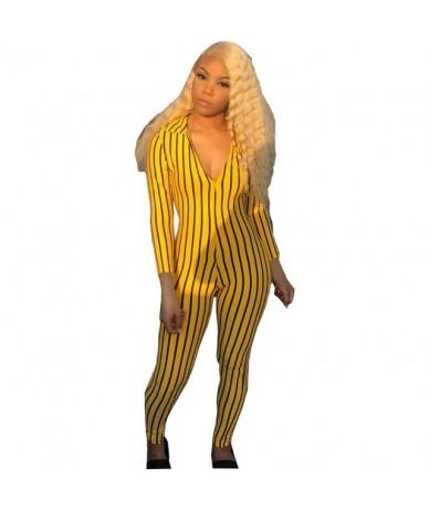 new women jumpsuits sexy deep v neck striped skinny clubwear rompers pants - YELLOW - 5F111225302116-5