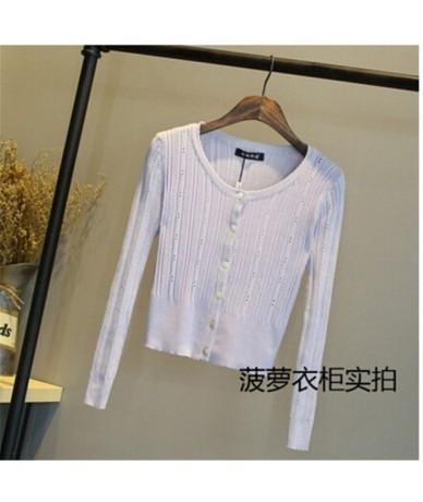 2016 New women's Korean autumn sweater cardigan Women Slim waist round neck short paragraph coat women tops ZY1367 - light p...