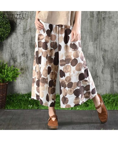 Women's Casual Polka Dot Printed Wide Leg Pants 2019 Summer Trousers Plus Size Elastic Waist Pantalon Cropped Trousers - Blu...
