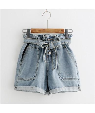 Tie Waist Denim Shorts 2019 New Design Shorts Summer High Waist Button Fly Plain Casual Hot Sale Shorts Blue - blue - 4Y4117...