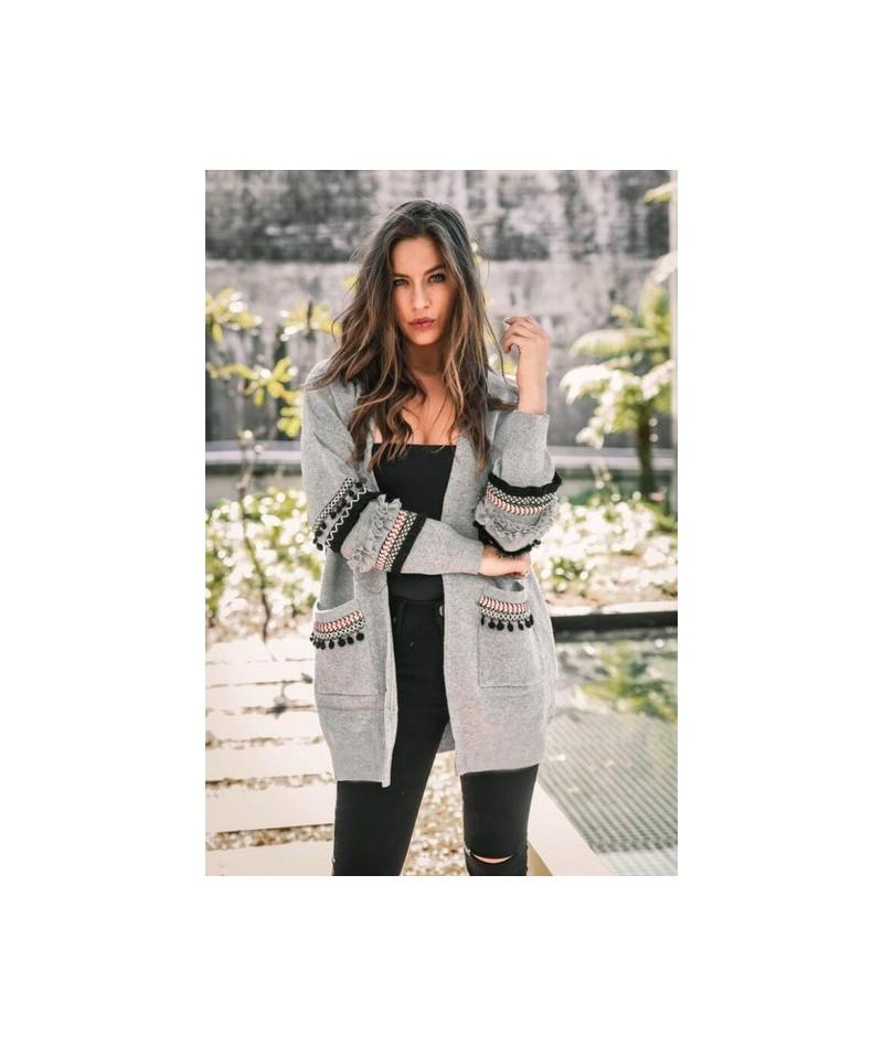 Women Ruffles Long Cardigan Lady Fashion TOPS Pockets Sweater Coat - Light Gray - 454110497431-4