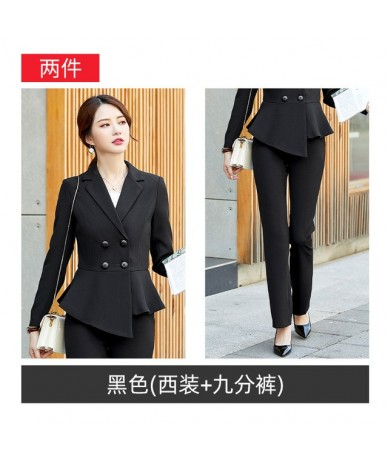 Ladies suits autumn and winter new fashion solid color irregular professional decoration body trousers women's two-piece sui...