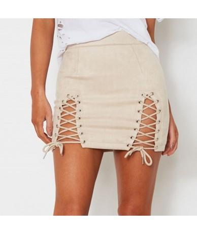 Summer 2019 Women Mini Skirts Solid Bandage Suede Fabric Skirt Elastic Pencil Empire Waist Sexy Micro Skirt Faldas Mujer Mod...