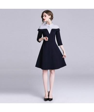 Ladies Elegant Party Dress New 2019 Spring Fashion Patchwork Ruffles Knee-length A-line Women Casual Dresses N676 - Dark Blu...