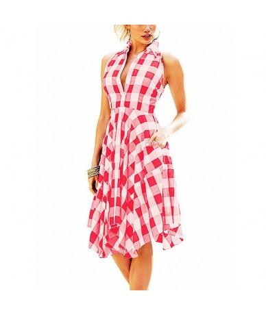 Ladies Dresses 2019 Summer Sleeveless Plaid Shirt Dress Irregular Hem Bodycon Women Dress Female Side Pockets Beach Vestidos...