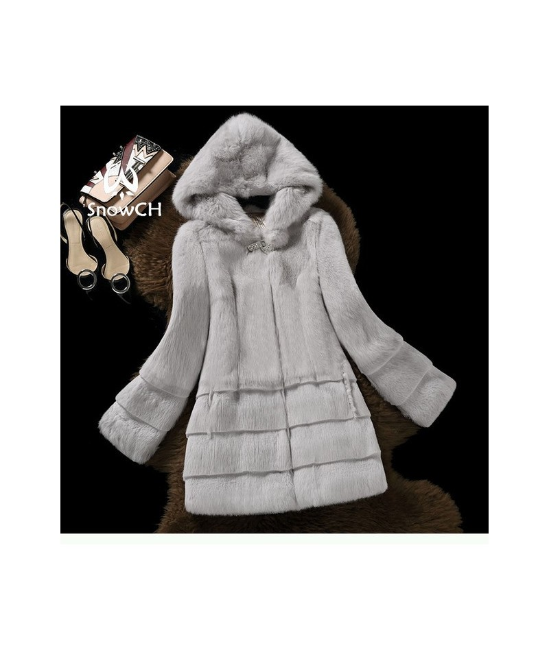 New real rabbit fur coat women full pelt rabbit fur jacket with hat Drill buckle winter outerwear make plus size - gray - 4I...