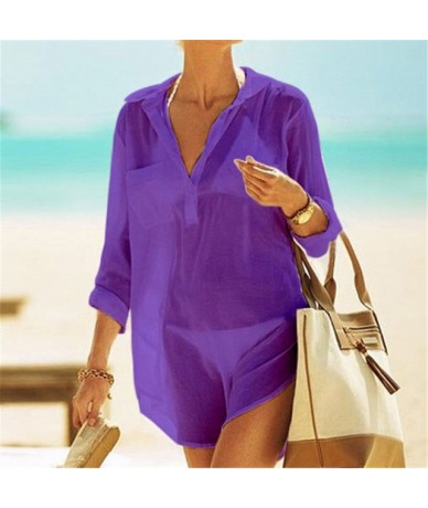 2019 Summer Women Beach Long Solid Shirts Long Sleeve Lady Casual Cotton Blouse Top Sexy Beachwear coverup Plus Size N212 - ...