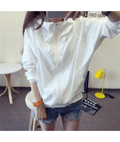 Hooded Jackets Women Smiley Print New Women's Basic Jacket Fashion Windbreaker High Quality Outwear Female Coat - White - 42...