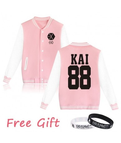 EXO Kpop Hoodies Women Men Casual Unisex Fans Supportive Baseball Jacket Member Name Couple Exo Clothes Free Gift - Pink 88 ...