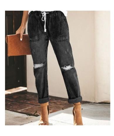 High Waist Jeans Woman Ripped Denim Plus Size Women Streetwear Boyfriend Jeans - Black - 5J111182190526-1