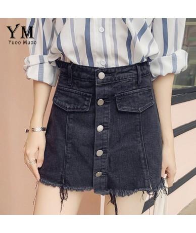 Single Breasted Korean Summer Skirt Shorts Women 2019 High Waist Pocket Denim Jeans Shorts Vintage Frayed Fringe Skirt - Sty...