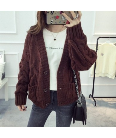 Women Sweater Cardigans 2018 Spring Knitted Coat Casual Sweater Poncho Vneck Button Up Warm Spring Jacket Female Outerwear -...