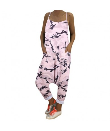 women's fashion camouflage Long Jumpsuits ladies beach casual loose lace up harem pants summer Rompers Plus Size - Pink - 4H...