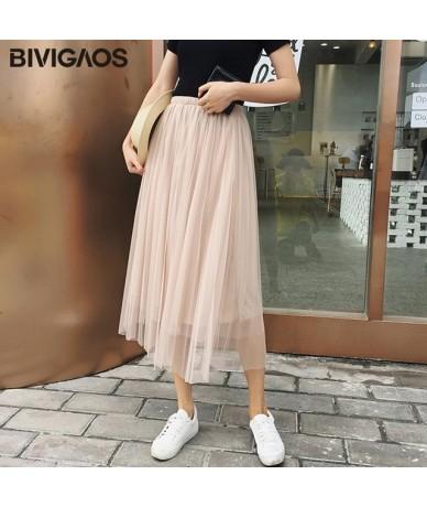 2019 Summer Women Tulle Skirt Pleated Skirt Black High Waist Midi Skirts Thin Chiffon Mesh Yarn loose Long Skirts Women - Ap...