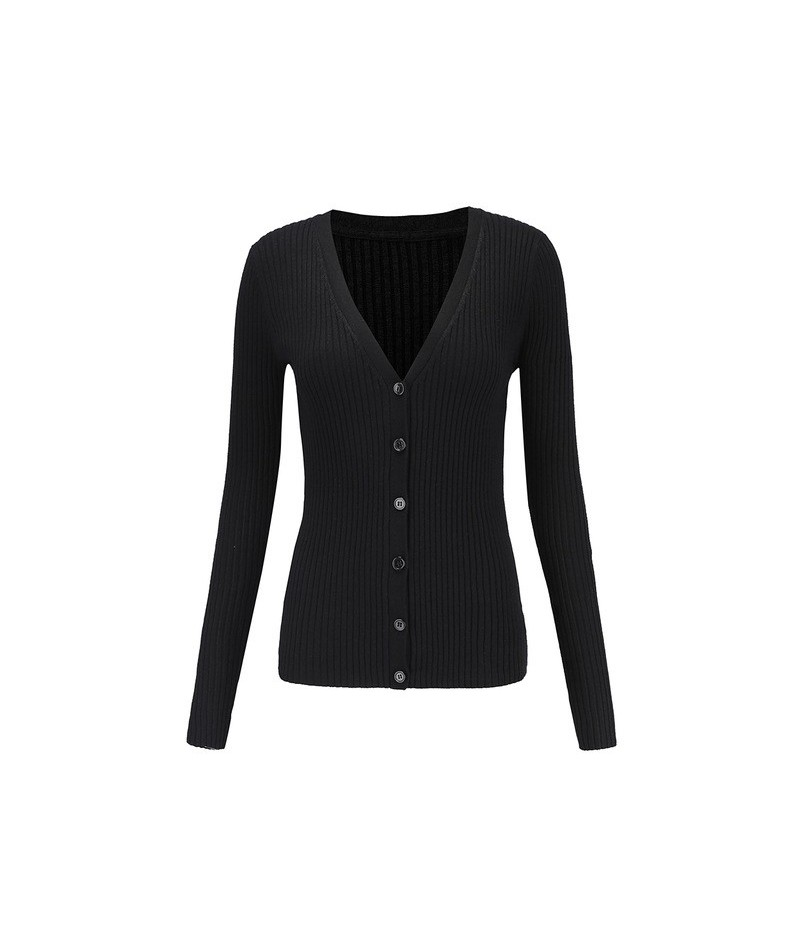 Basic Ribbed Cardigan Sweater Women Knitted Cotton V Neck Slim Essential Jumper Long Sleeve Sweaters With Thumb Hole - Black...
