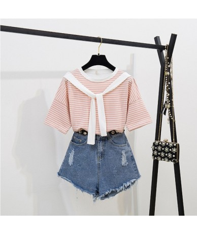 women 2 pieces sets summer 2 pieces shorts sets striped t-shirt & denim shorts two pieces outfits sweet girl Korean suit - o...