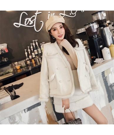 Women Long Sleeves pearls Jacket Coat+Mini Slim Short Dress 2 Pieces Sets Autumn Winter Runway High Quality Tassels Tweed Su...