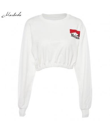 Sweatshirts Women Fashion Cropped O-Neck Long Sleeve Sweatshirt Pullover 2018 New Ladies White Casual Loose Crop Top - White...