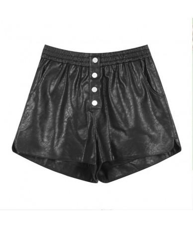 2019 New Woman Shorts Casual Solid Mid PU Leather Women Shorts Oversized Streetwear Elastic Waist Harem Shorts Femme - Black...