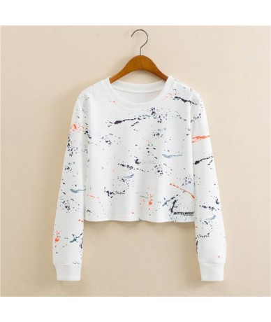 MITTELMEER New Harajuku printed Sweatshirt o-neck crop top Cartoon unicorn printing short Sweatshirt Hooded tops for women -...