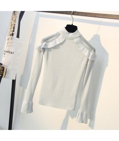 Lurex knitwear women fashion slim off shoulder Mesh Patchwork Flare sleeve Pullover Sweater Chic Basic top B-158 - White - 4...