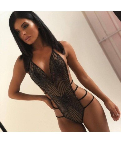 New sequined spliced bodysuits women spaghetti strap + hollow out overall beach style sexy bodysuits 694 - Black - 5I1112284...