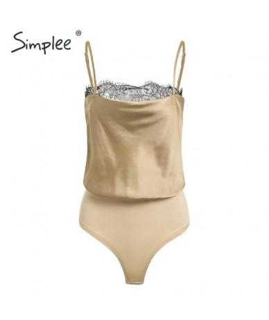 Sexy lace hem satin women bodysuit Spaghetti strap female top jumpsuit romper Elegant solid ladies party overalls 2019 - cha...