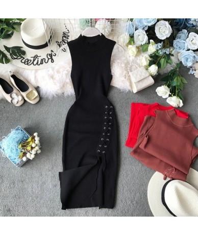 Women Sexy Dress 2019 Summer New Solid Stretch Slim Knitted Sleeveless Split Side Bodycon Dress Robe Femme - Black - 4Z41282...