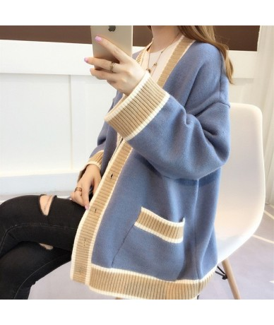 Chic early autumn coat 2019 new loose autumn winter sweater knitted cardigan jacket - Blue - 4J3050602341-1