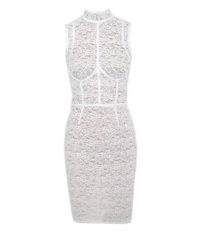 New Fashion Embroidery Floral Elegant Bow Neck Sleeveless Above Knee Mini Sheath Party Dress DHH3365 - Beige - 4E3042370618
