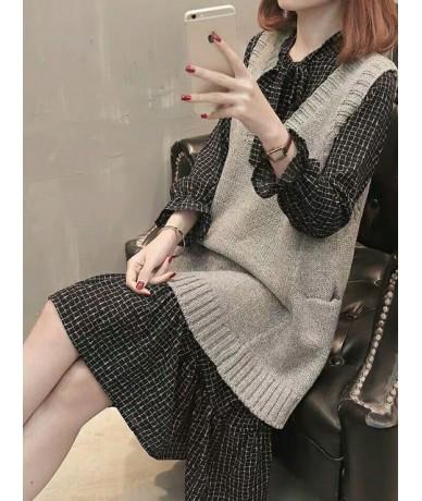 Women Clothing Sets 2019 Autumn&winter New Elegant Women's Long Slim Knitted Vest Chiffon Dress Two-piece Sets - green - 5Y1...