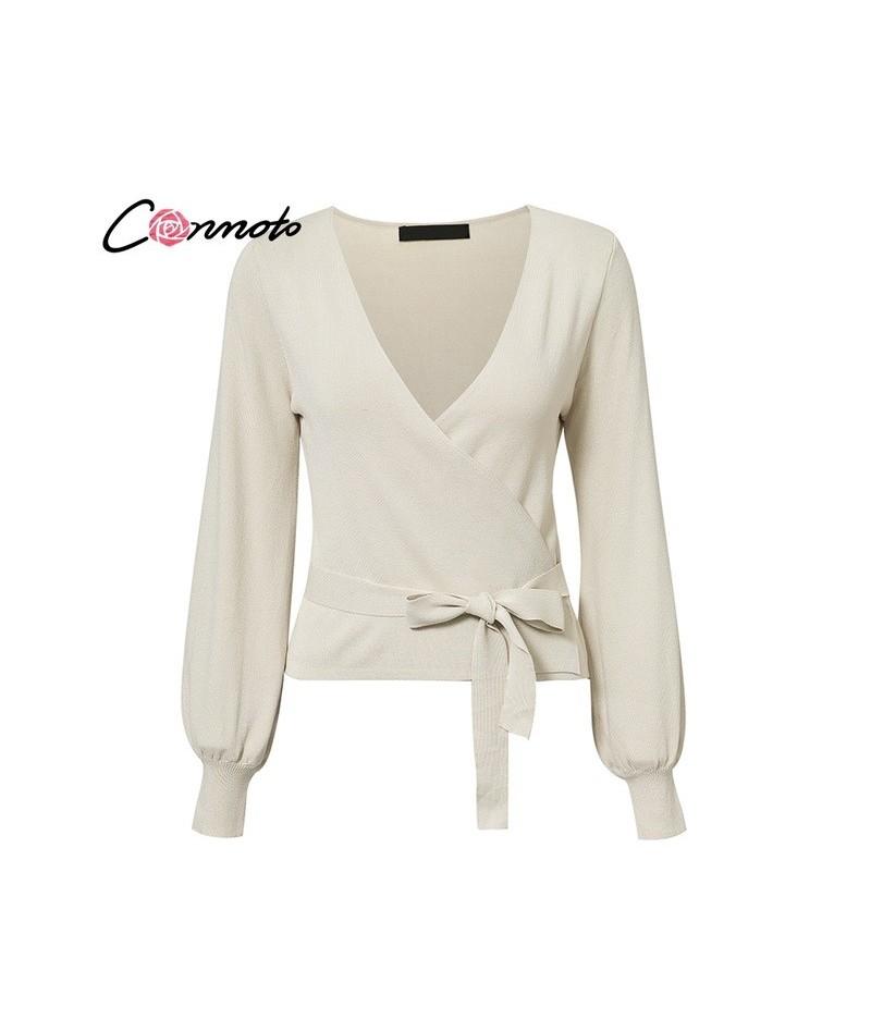 V Neck Lantern Sleeve Lace up Wrap Sweater Women 2018 Fall Strwetwear Cardigan Winter Knitted Jumper Ladies Tops - Beige - 4...