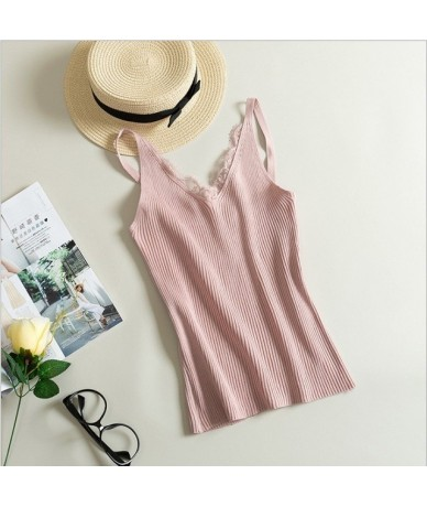 New Women sexy tank top Hook Flower Lace Tank solid Stitching V-neck Camis Female Knitted Slim Sleeveless Tank Casual Tops -...