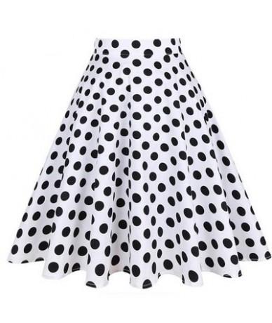 Summer Midi Skater Skirt Runway Vintage Rockabilly Skirts Red Womens 2018 Sexy Pinup 50S 60S Cotton Polka Dot Pattern Skirts...