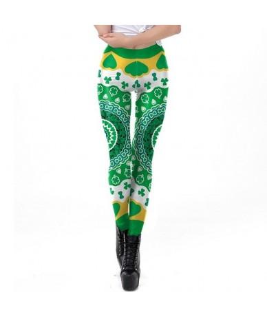 Green Lucky Clover Leggings Women Patrick's Day 3D Printed Belt Leggins Workout Fitness Plus Size Legins Women - KDK1938 - 4...